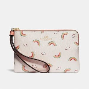 Corner Zip Wristlet With Allover Rainbow Print
